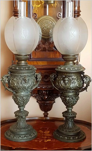 65c0c217418b1 PIĘKNY BAROKOWY KOMPLET LAMP NAFTOWYCH XIXw.